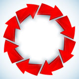 红色箭头闭合的传染媒介圈子 库存图片