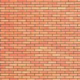 红色米黄砖墙纹理,垂直的样式背景,大详细的织地不很细砖墙壁拷贝空间特写镜头自然脏 免版税库存照片