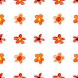 红色纯稚水彩花 库存照片