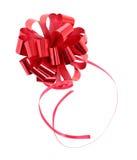 红色纸丝带被隔绝在白色 库存照片