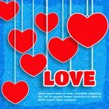 红色纸传染媒介心脏背景。情人节 库存图片