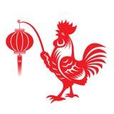 红色纸切开了举行灯笼黄道带标志的一只鸡矮脚鸡 向量例证