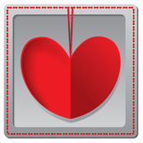 红色纸心脏情人节卡片 免版税库存图片
