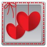 红色纸心脏情人节卡片 免版税库存照片