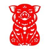 红色纸裁减猪黄道带坐传染媒介艺术设计 库存图片