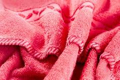 红色纹理毛巾 免版税库存照片