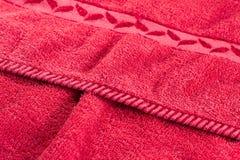 红色纹理毛巾 免版税库存图片
