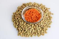 红色绿色的扁豆 免版税库存图片