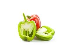 红色绿色的辣椒粉 免版税库存图片