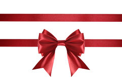 红色缎丝带 免版税库存照片
