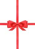 红色缎弓结和丝带在白的集合19 库存照片