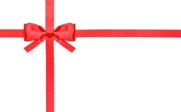 红色缎弓结和丝带在白的集合1 库存图片