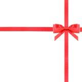 红色缎弓结和丝带在白的集合13 免版税库存照片