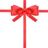 红色缎弓结和丝带在白的集合15 免版税库存照片