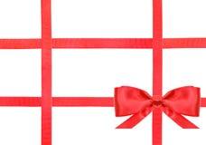 红色缎弓结和丝带在白的集合33 免版税库存图片