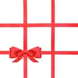 红色缎弓结和丝带在白的集合39 免版税库存照片