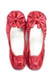 红色缎拖鞋 库存图片