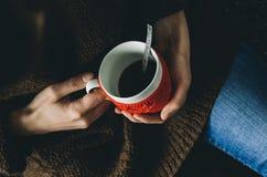 红色编织了有心脏样式的羊毛杯子在女性手上 库存照片