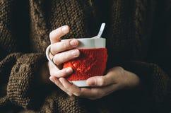 红色编织了有心脏样式的羊毛杯子在女性手上 免版税库存图片