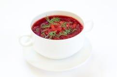 红色罗宋汤汤用莳萝 库存照片
