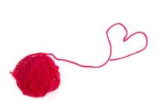 红色羊毛心脏 库存图片