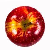 红色美味苹果在白色背景从上面射击了 免版税库存图片