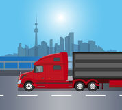 红色美国卡车  免版税图库摄影