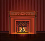 红色老壁炉 库存例证