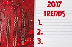红色老肮脏的计算机电路板和2017个趋向发短信给concep 免版税库存照片