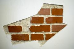 红色老被佩带的砖墙纹理背景 葡萄酒作用 免版税库存照片