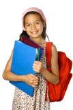 红色背包女小学生 免版税库存图片
