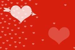 红色背景和心脏 免版税库存照片