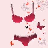 红色胸罩热的短内裤 免版税库存照片