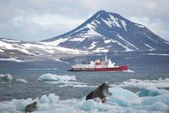 红色船在北极海湾 库存照片