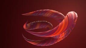 红色色的扭转的形状 计算机生成的抽象几何3D回报圈动画 4K??HD?? 皇族释放例证