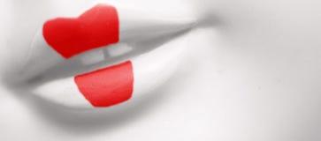 红色艺妓的嘴唇 库存照片