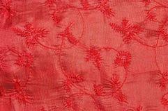红色花卉布料 免版税库存图片