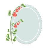 红色花和一个卵形框架 免版税库存照片