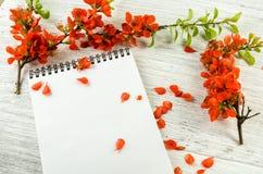 红色花和一个笔记本的构成笔记的关于木 免版税库存图片