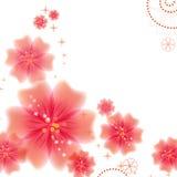 红色花和反射 库存照片