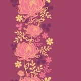 红色花和叶子垂直的无缝的样式 免版税库存照片