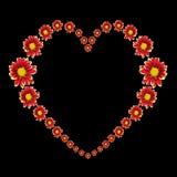 红色花和在黑色隔绝的爱文本的美好的心脏 保存与裁减路线 库存图片