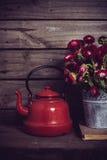 红色花和搪瓷水壶 库存图片