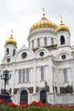 红色花基督救主教会在莫斯科,俄罗斯 库存照片
