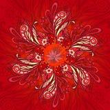 红色花无缝的样式 图库摄影