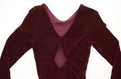 红色花样滑冰后面看法的礼服关闭 免版税库存图片