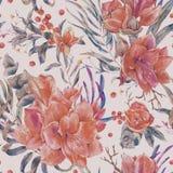 红色花的水彩破旧的花卉无缝的样式 皇族释放例证