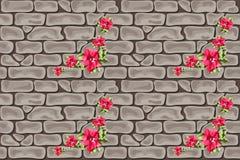 红色花砖无缝的喇叭花 免版税库存图片