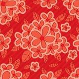 红色花红色背景无缝的样式 免版税库存图片