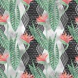 红色花,绿色在浅灰色的背景离开与黑装饰带 夏天设计 免版税库存图片